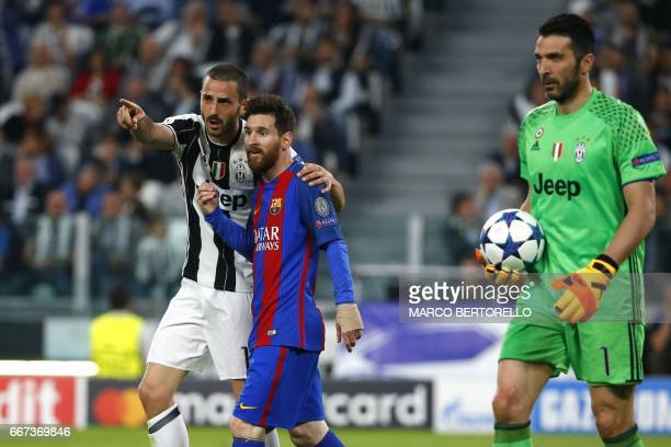 Juventus' defender from Italy Leonardo Bonucci speaks to Barcelona's Argentinian forward Lionel Messi next to Juventus' goalkeeper from Italy...
