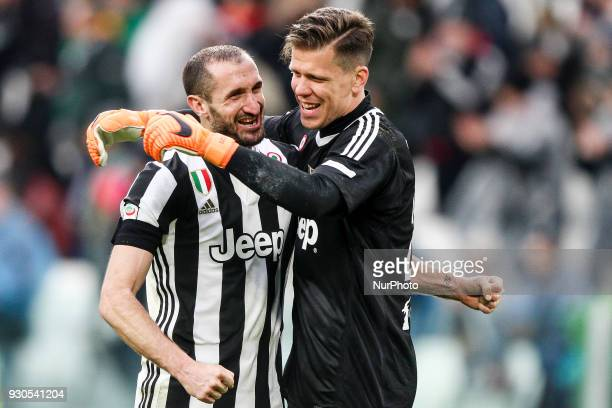 Juventus defender Giorgio Chiellini and Juventus goalkeeper Wojciech Szczesny celebrate victory after the Serie A football match n28 JUVENTUS UDINESE...