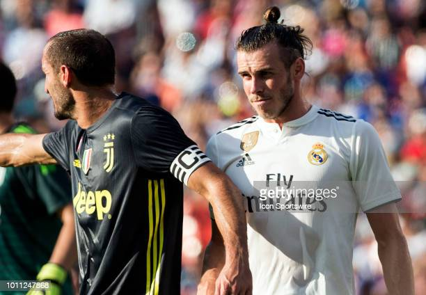 Juventus defender Giorgio Chiellini and Real Madrid forward Gareth Bale during an International Champions Cup match between Juventus and Real Madrid...