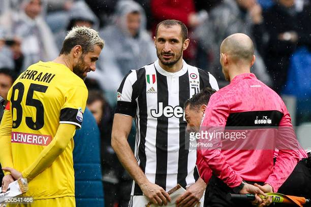 Juventus defender Giorgio Chiellini and Udinese midfielder Valon Behrami before the Serie A football match n28 JUVENTUS UDINESE on at the Allianz...