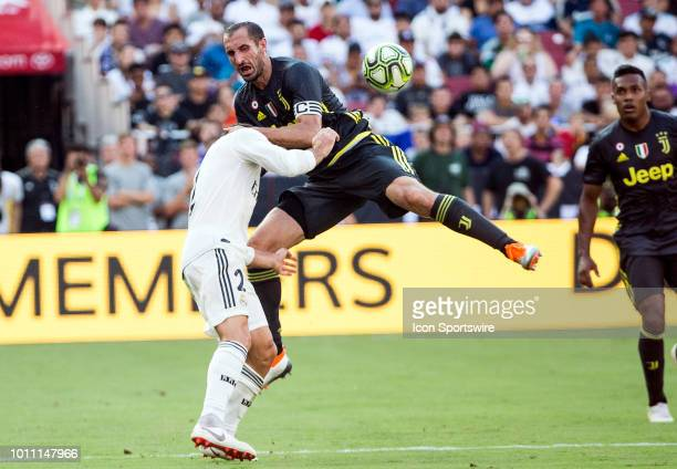 Juventus defender Giorgio Chiellini crashes into Real Madrid defender Daniel Carvajal during an International Champions Cup match between Juventus...