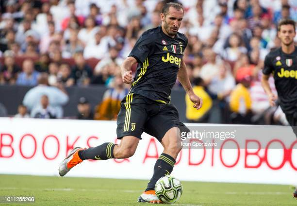 Juventus defender Giorgio Chiellini moves into the attack during an International Champions Cup match between Juventus and Real Madrid on August 4 at...