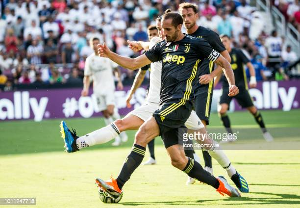 Juventus defender Giorgio Chiellini passes away from Real Madrid forward Gareth Bale during an International Champions Cup match between Juventus and...