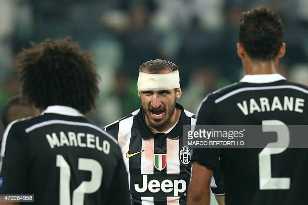 Juventus' defender Giorgio Chiellini reacts during the UEFA Champions League semifinal first leg football match Juventus vs Real Madrid on May 5 2015...