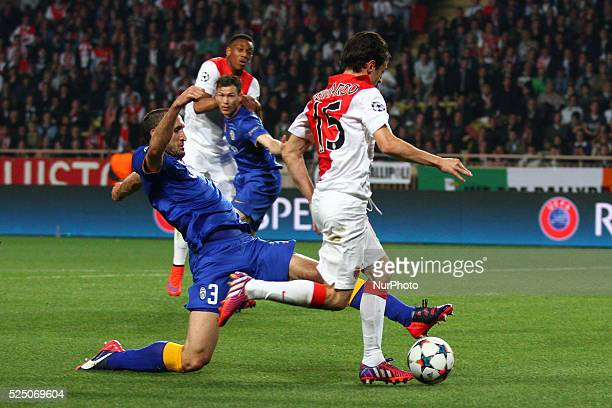 Juventus defender Giorgio Chiellini tackles Monaco midfielder Bernardo Silva during the Uefa Champions League quarter final football match JUVENTUS -...