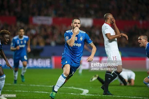 Juventus' defender Leonardo Bonucci celebrates after scoring during the UEFA Champions League football match Sevilla FC vs Juventus at the Ramon...