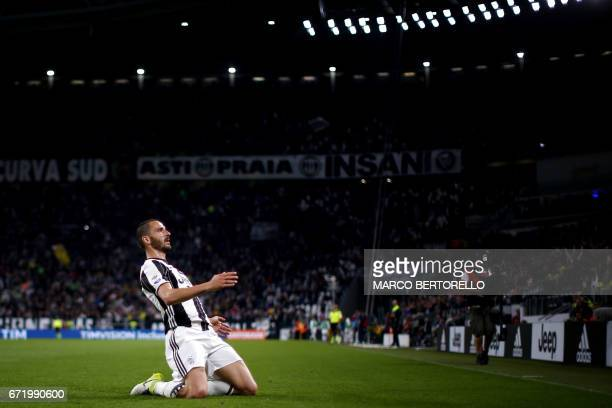 Juventus' defender Leonardo Bonucci celebrates after scoring during the Italian Serie A football match Juventus Vs Genoa on April 23 2017 at the...