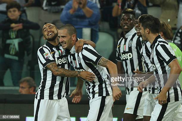 Juventus defender Leonardo Bonucci scores his goal and celebrates during the Serie A football match n.6 JUVENTUS - ROMA on 05/10/14 at the Juventus...