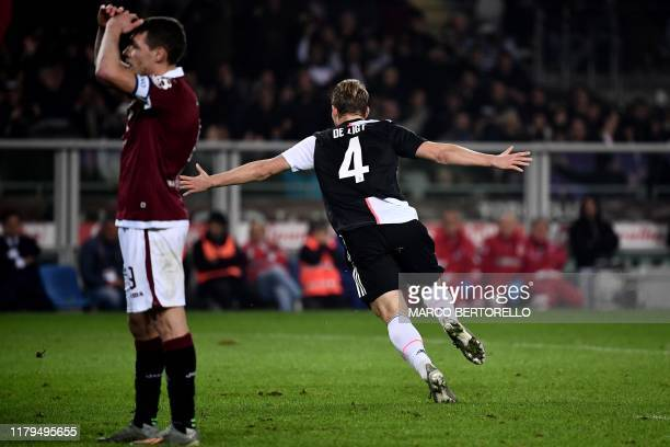 Juventus' defender Matthijs de Ligt from Netherland celebrates after scoring a goal during the Italian Serie A football match Torino vs Juventus on...