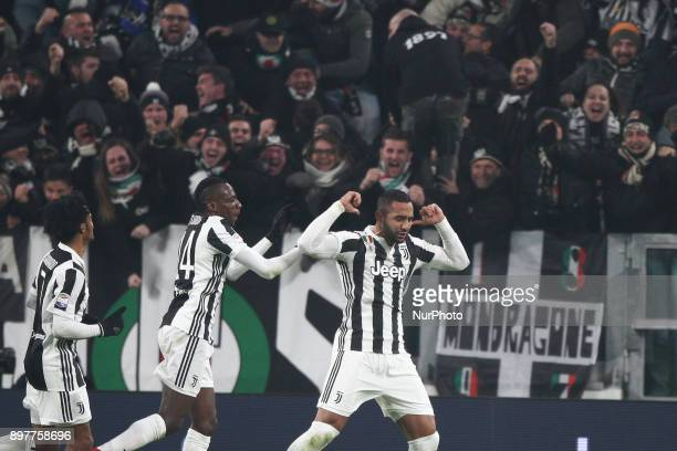 Juventus defender Medhi Benatia celebrates after scoring his goal during the Serie A football match n18 JUVENTUS ROMA on at the Allianz Stadium in...