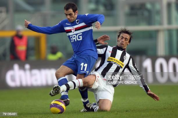 Juventus' defender Nicola Legrottaglie challenges for the ball with Sampdoria's striker Claudio Bellucci during their Seria A match Juventus vs...