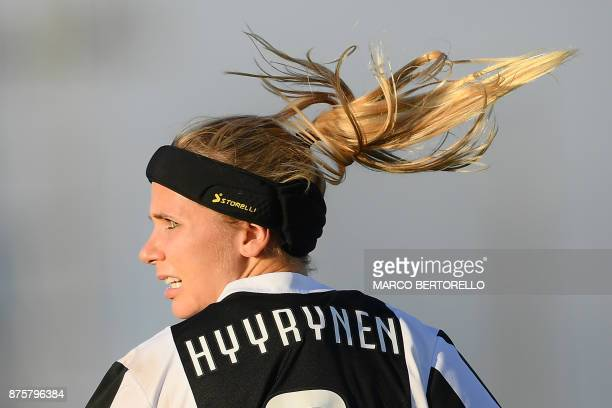 Juventus' defender Tuija Annika Hyyrynen looks on during the Women's Italian football match between Juventus and Sassuolo at Juventus Center on...