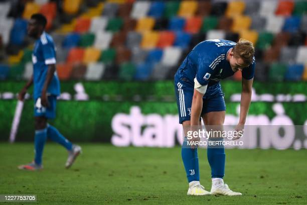 Juventus' Dutch defender Matthijs de Ligt reacts after losing the Italian Serie A football match between Udinese and Juventus on July 23 at the Dacia...
