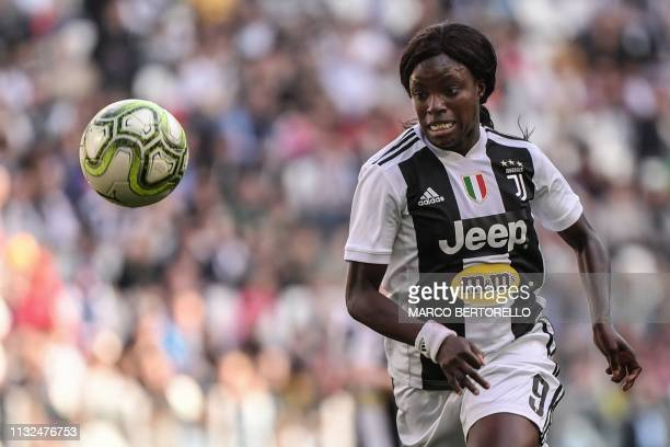 Juventus' English forward Eniola Aluko eyes the ball during the Women's Serie A football match Juventus FC vs Fiorentina Women's on March 24 2019 at...