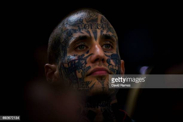 Juventus fan is seen inside the stadium prior to the UEFA Champions League Final between Juventus and Real Madrid at National Stadium of Wales on...