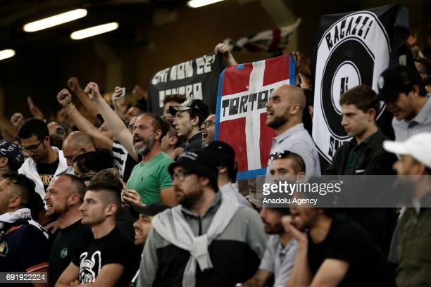 Juventus fans are seen ahead of UEFA Champions League Final soccer match between Juventus and Real Madrid at Millennium Stadium in Cardiff Wales on...