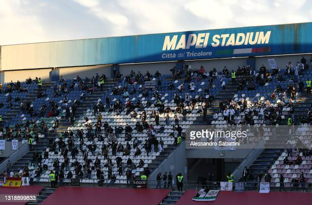 Juventus fans attend the TIMVISION Cup Final between Atalanta BC and Juventus on May 19, 2021 in Reggio nell'Emilia, Italy.