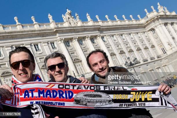 Juventus Fans enjoy the prematch atmosphere ahead of the UEFA Champions League Round of 16 First Leg match between Club Atletico de Madrid and...