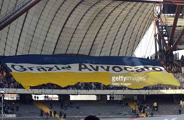 Juventus fans say farewell to former Club President Gianni Agnelli who died on Friday during the Serie A match between Juventus and Piacenza played...