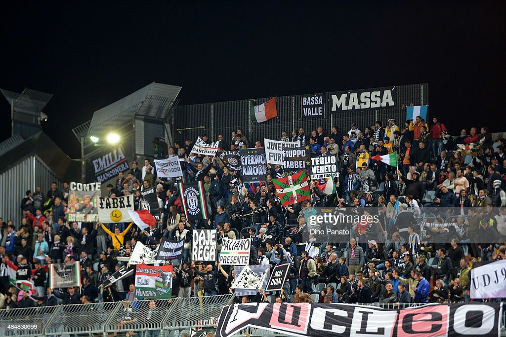 Juventus fans shows their support during the Serie A match between Udinese Calcio and Juventus at Stadio Friuli on April 14, 2014 in Udine, Italy.