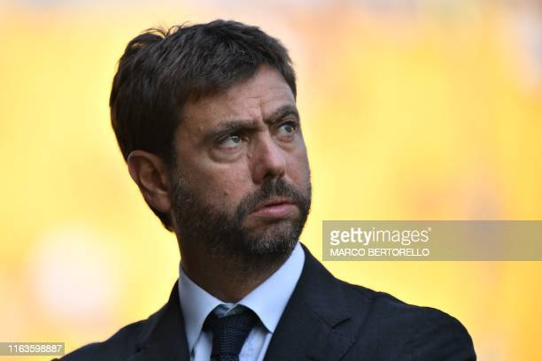 Juventus FC chairman, Andrea Agnelli attends the Italian Serie A football match Parma vs Juventus on August 24, 2019 at the Ennio-Tardini stadium in...