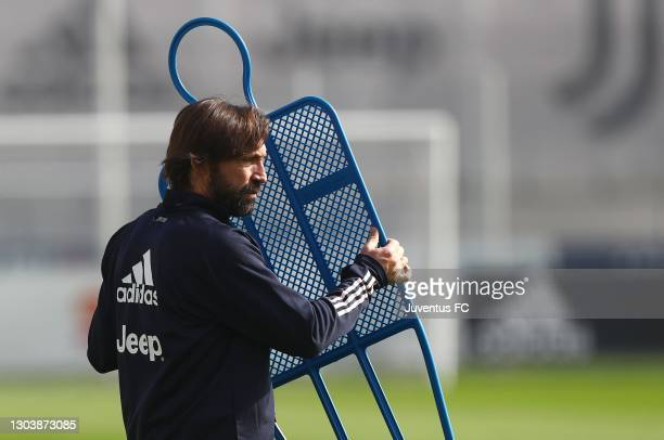 Juventus FC coach Andrea Pirlo looks on at JTC on February 24, 2021 in Turin, Italy.