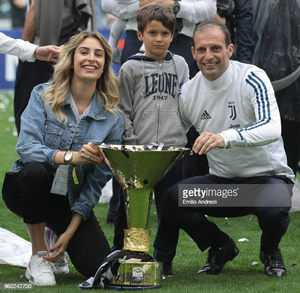 Juventus FC coach Massimiliano Allegri and family celebrates with the trophy after winning the Serie A Championship at the end of the serie A match...
