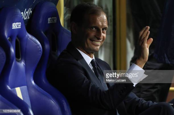 Juventus FC coach Massimiliano Allegri looks on before the serie A match between Parma Calcio and Juventus at Stadio Ennio Tardini on September 1...