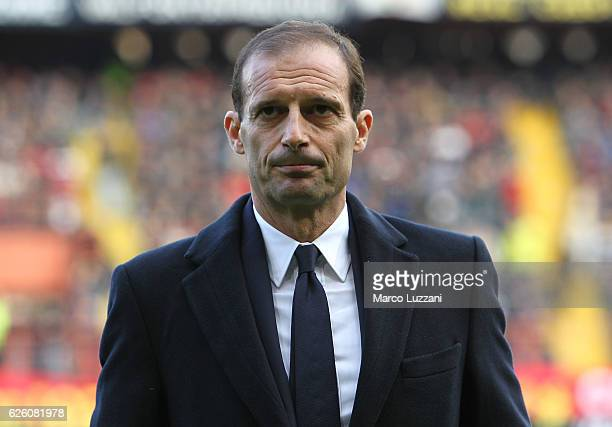 Juventus FC coach Massimiliano Allegri looks on before the Serie A match between Genoa CFC and Juventus FC at Stadio Luigi Ferraris on November 27...