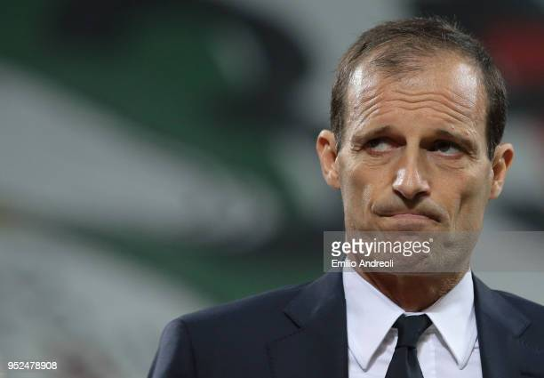 Juventus FC coach Massimiliano Allegri looks on before the serie A match between FC Internazionale and Juventus at Stadio Giuseppe Meazza on April 28...