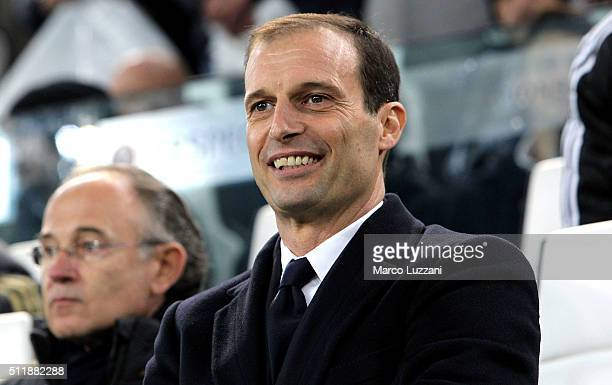 Juventus FC coach Massimiliano Allegri looks on before the UEFA Champions League Round of 16 first leg match between Juventus and FC Bayern Muenchen...