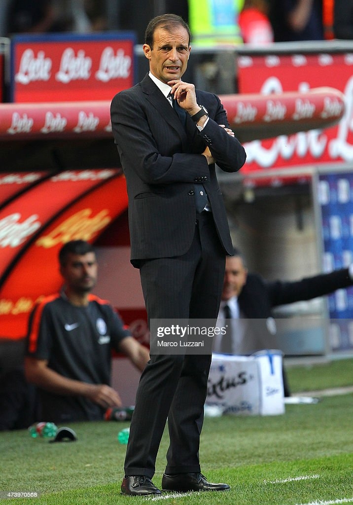 Juventus FC coach Massimiliano Allegri looks on during the Serie A match between FC Internazionale Milano and Juventus FC at Stadio Giuseppe Meazza on May 16, 2015 in Milan, Italy.