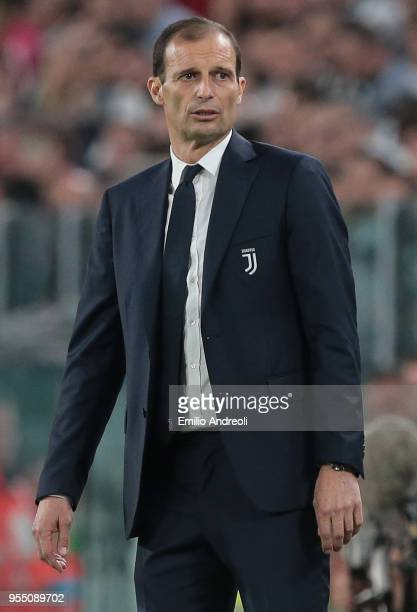 Juventus FC coach Massimiliano Allegri looks on during the serie A match between Juventus and Bologna FC at Allianz Stadium on May 5 2018 in Turin...