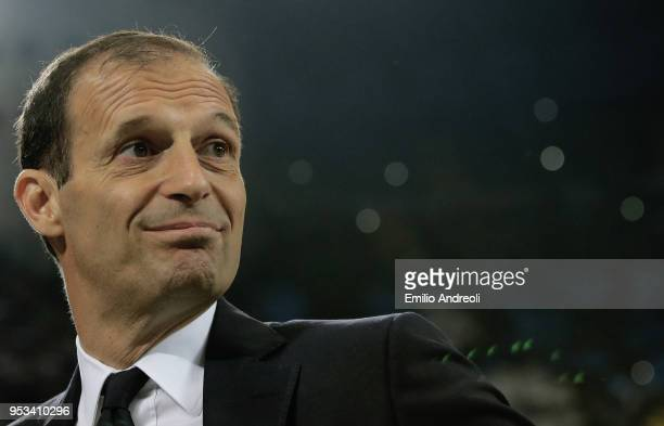 Juventus FC coach Massimiliano Allegri looks on prior to the serie A match between FC Internazionale and Juventus at Stadio Giuseppe Meazza on April...