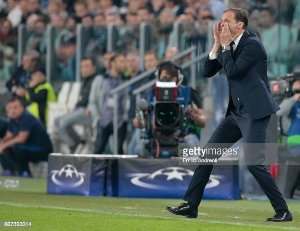 Juventus FC coach Massimiliano Allegri shouts to his players during the UEFA Champions League Quarter Final first leg match between Juventus and FC...
