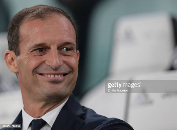 Juventus FC coach Massimiliano Allegri smiles prior to the Serie A match between Juventus and Bologna FC at Allianz Stadium on September 26 2018 in...