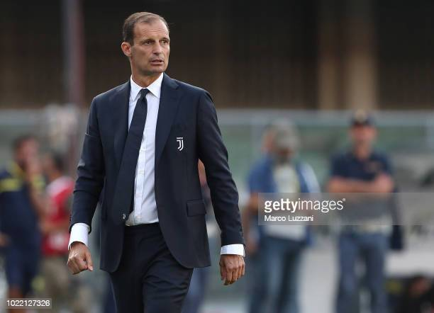 Juventus FC coach Massimiliano Allegri watches the action during the Serie A match between Chievo Verona and Juventus at Stadio Marc'Antonio...
