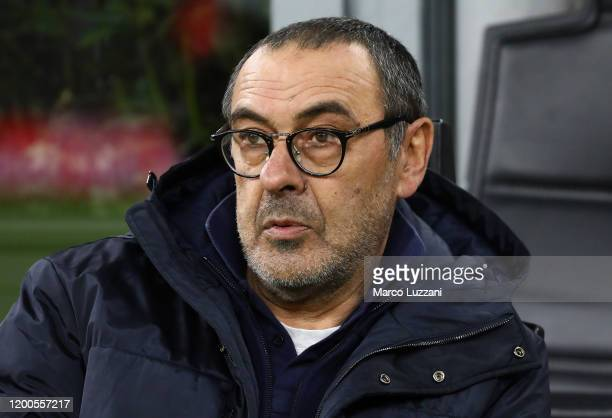 Juventus FC coach Maurizio Sarri looks on before the Coppa Italia Semi Final match between AC Milan and Juventus at Stadio Giuseppe Meazza on...