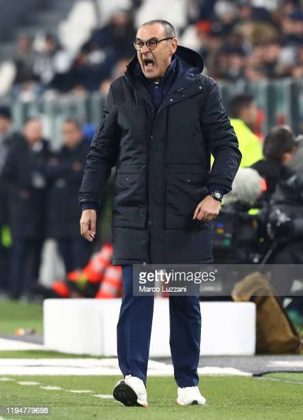 Juventus FC coach Maurizio Sarri shouts to his players during the Serie A match between Juventus and Parma Calcio at Allianz Stadium on January 19...