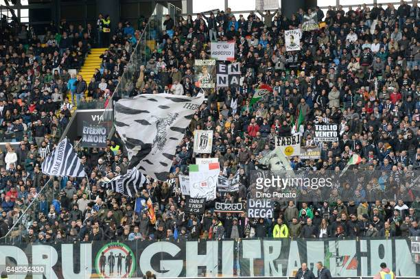 Juventus FC fans shows his support during the Serie A match between Udinese Calcio and Juventus FC at Stadio Friuli on March 5 2017 in Udine Italy