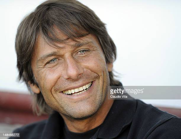 Juventus FC head coach Antonio Conte smiles during a preseason friendly match between Juventus Fc and Aygreville on July 17 2012 in Sain Vincent near...