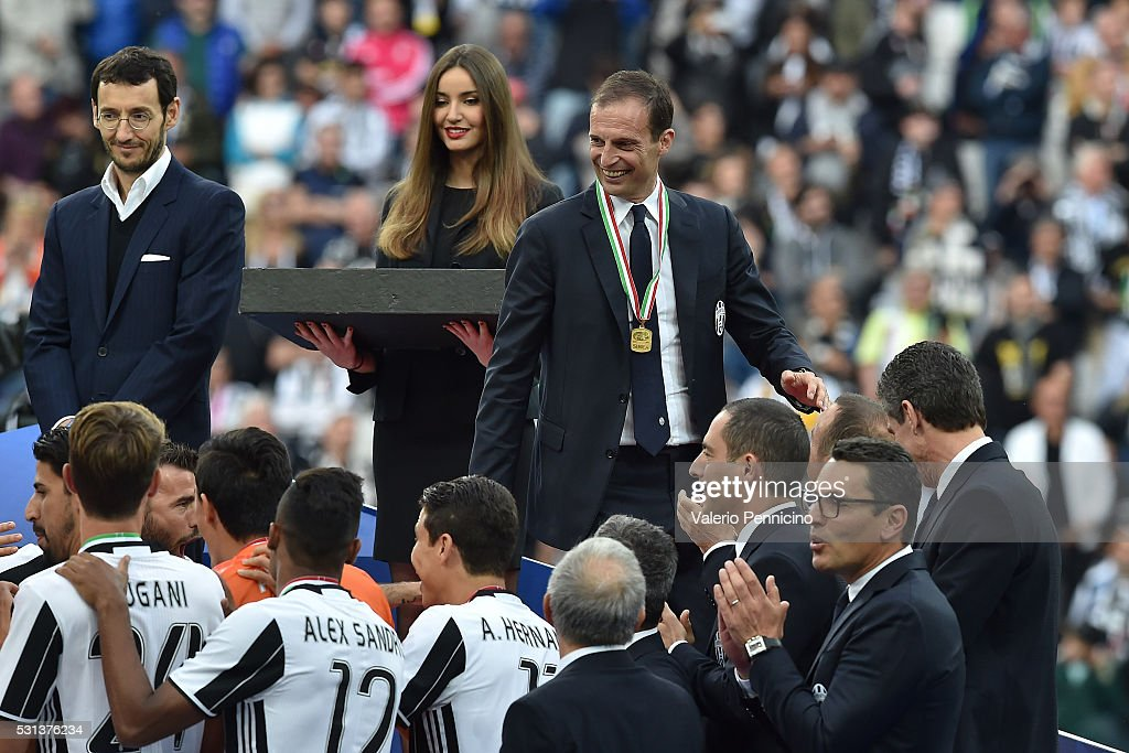 Juventus FC head coach Massimiliano Allegri celebrates after beating UC Sampdoria 5-0 to win the Serie A Championships after the Serie A match between Juventus FC and UC Sampdoria at Juventus Arena on May 14, 2016 in Turin, Italy.
