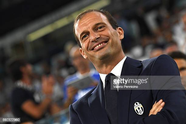Juventus FC head coach Massimiliano Allegri looks on during the Serie A match between Juventus FC and ACF Fiorentina at Juventus Arena on August 20...