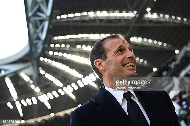Juventus FC head coach Massimiliano Allegri looks on during the Serie A match between Juventus FC and SS Lazio at Juventus Stadium on January 22 2017...
