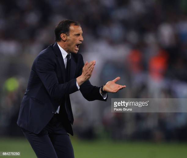 Juventus FC head coach Massimiliano Allegri reacts during the TIM Cup Final match between SS Lazio and Juventus FC at Olimpico Stadium on May 17 2017...