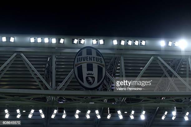 Juventus FC logo at The Juventus Stadium during the UEFA Champions League Group H match between Juventus FC and Sevilla FC at Juventus Stadium on...