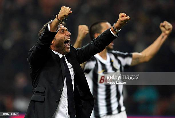 Juventus FC manager Antonio Conte celebrates a victory at the end of the Serie A match between FC Internazionale Milano and Juventus FC at Stadio...
