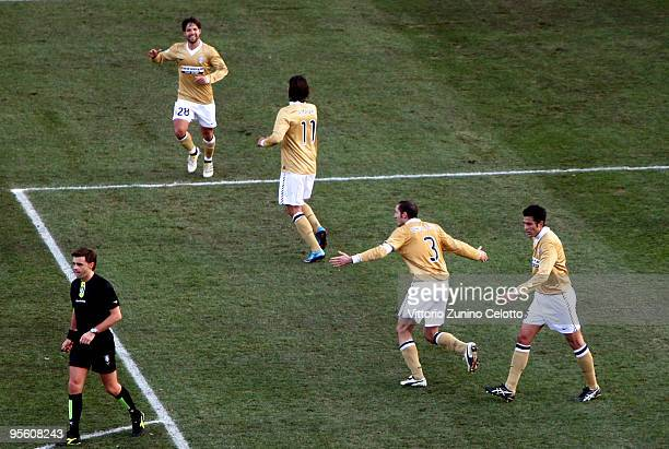 Juventus FC players celebrate after scoring the second goal during the Serie A match between Parma and Juventus at Stadio Ennio Tardini on January 6...