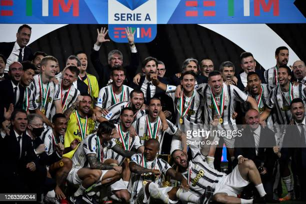 Juventus FC players holding the trophy after winning the Serie A Championship 20192020 on ceremony during the Serie A match between Juventus and AS...