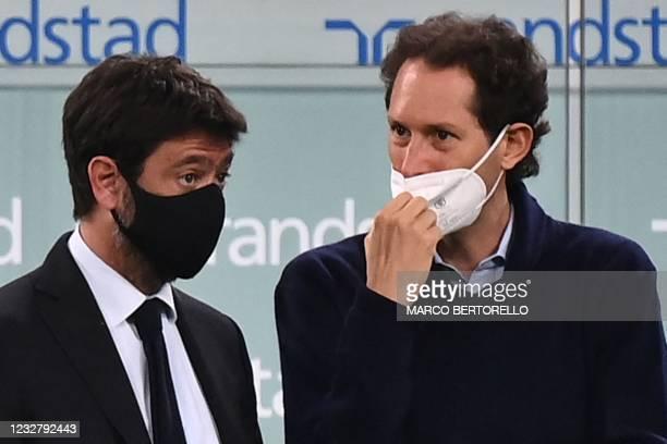 Juventus FC President Andrea Agnelli and Fiat Chrysler Automobiles Chairman John Elkann attend the Italian Serie A football match Juventus vs AC...